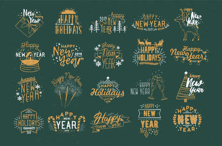 Bundle of festive Happy New 2019 Year inscriptions handwritten with creative calligraphic fonts and decorated with holiday elements - baubles, fireworks, garlands, snowflakes. Vector illustration