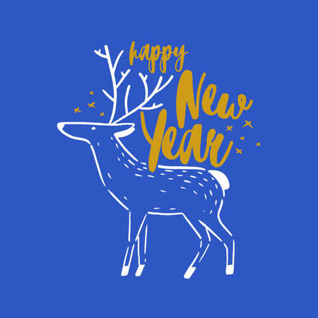 Happy New Year holiday wish handwritten with cursive decorative calligraphic font. Written festive text message or lettering decorated with hand drawn reindeer. Creative elegant vector illustration