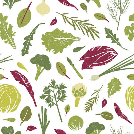 Seamless pattern with green plants, tasty vegetables and salad leaves on white background. Backdrop with healthy vegan or vegetarian food. Colorful vector illustration for textile print, wallpaper Ilustracja