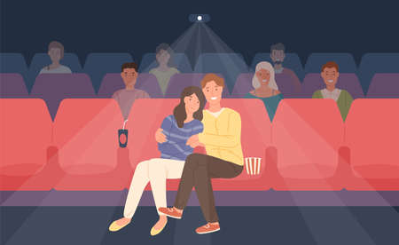 Romantic couple sitting in movie theater or cinema hall and hugging. Young man and woman watching film or motion picture together. Front view. Colorful vector illustration in flat cartoon style
