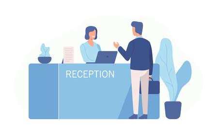 Cliente maschio in piedi alla reception e parlando con l'addetto alla reception femminile. Scena della visita al centro servizi isolato su sfondo bianco. Illustrazione vettoriale colorato in stile cartone animato piatto Vettoriali