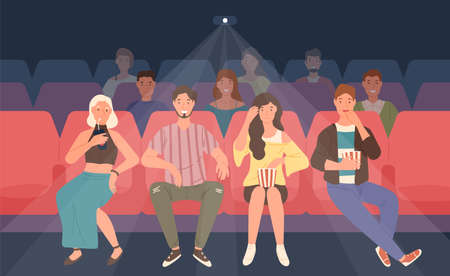 Young men and women sitting in chairs at movie theater or cinema auditorium. Friends or mates watching film or motion picture together. Front view. Colored vector illustration in flat cartoon style
