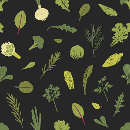 Seamless pattern with green plants, salad leaves and spice herbs on black background. Backdrop with wholesome vegan or vegetarian food. Colored vector illustration for fabric print, wrapping paper