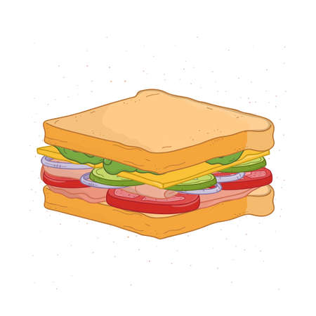 Appetizing sandwich isolated on white background. Drawing of tasty fast food meal with bread, ham or bacon, cheese and vegetables. Delicious snack. Colorful hand drawn realistic vector illustration Illustration