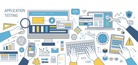 Colorful banner with hands working on various electronic devices - computer, smartphone, tablet pc. Cross-platform software, program or application testing. Vector illustration in line art style Banco de Imagens - 108118287