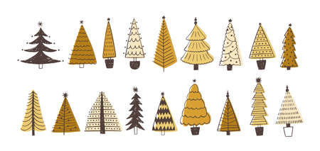 Set of various firs, pines or spruces decorated with baubles. Bundle of winter coniferous forest Christmas trees isolated on white background. Colored holiday vector illustration in doodle style Vectores
