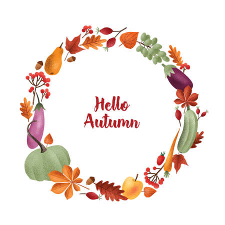 Hello Autumn inscription written with elegant calligraphic script inside round frame or wreath made of seasonal vegetables, fruits, fallen leaves, acorns, berries. Colorful vector illustration