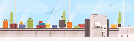 Bags, suitcases on baggage carousel against window with flying aircrafts on background. Device with conveyor belt delivering checked luggage at airport. Colorful vector illustration in flat style.  イラスト・ベクター素材