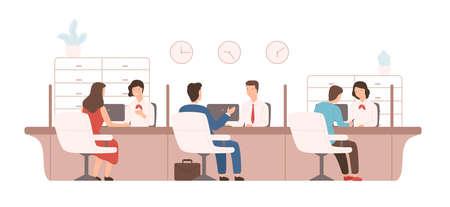 Clientes masculinos y femeninos sentados y hablando con gerentes o analistas del departamento de crédito. Trabajadores bancarios que prestan servicios a los clientes. Ilustración de vector colorido en estilo moderno de dibujos animados plana