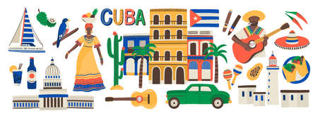 Collection of Cuba attributes isolated on white background - musical instruments, Cuban rum, flag, building, sombrero hat, chili pepper. Colorful vector illustration in modern flat cartoon style