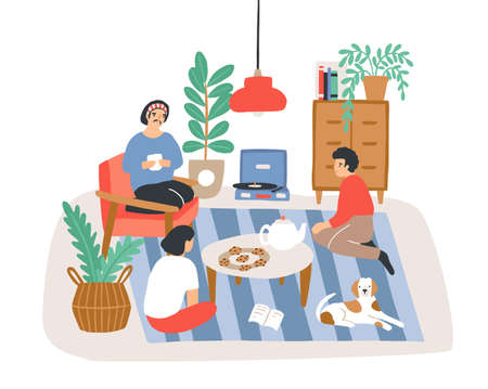 Group of people or friends sitting in comfy apartment furnished in Scandinavian hygge style and talking to each other. Friendly meeting at home. Colored vector illustration in flat cartoon style.