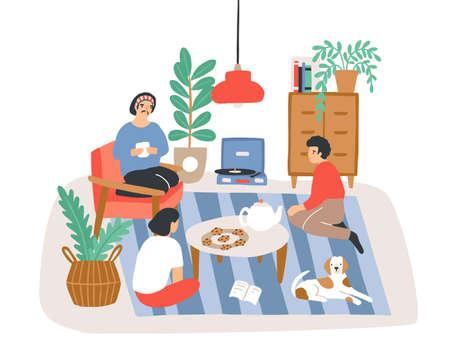 Gruppe von Personen oder Freunden, die in einer bequemen Wohnung sitzen, die im skandinavischen Hygge-Stil eingerichtet ist und miteinander spricht. Freundliches Treffen zu Hause. Farbige Vektorillustration im flachen Karikaturstil.