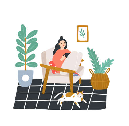 Young girl sitting in comfortable armchair and drinking tea or coffee in room furnished in Scandinavian style. Woman spending evening time at home. Colored vector illustration in flat cartoon style Illustration