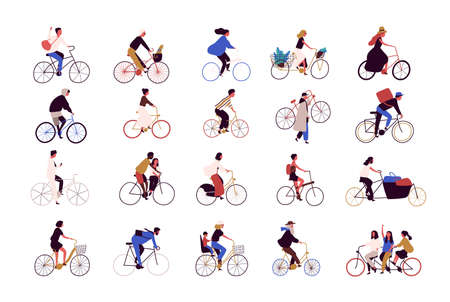 Group of tiny people riding bikes on city street during festival, race or parade. Collection of men and women on bicycles isolated on white background. Colored vector illustration in cartoon style Çizim