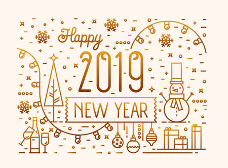 Happy New 2019 Year horizontal banner, greeting card, postcard template with festive decorations, snowman and baubles drawn with golden lines on light background. Vector illustration in linear style