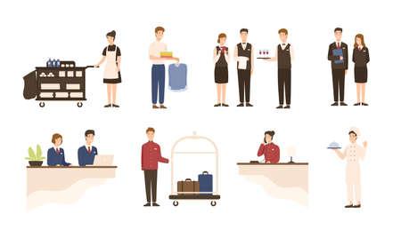 Sammlung von Hotelpersonal - Empfangsdame, Zimmermädchen oder Zimmermädchen und Wäschereibedienstete, Kellner und Kellnerinnen, Chef, Hotelpage einzeln auf weißem Hintergrund. Cartoon-Vektor-Illustration