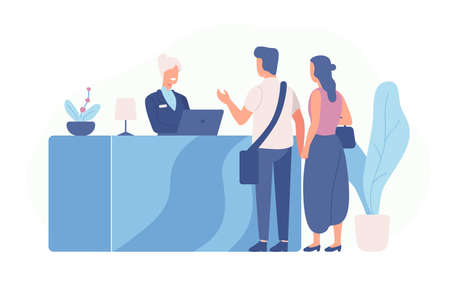 Pair of tourists or travellers standing at reception desk and talking to receptionist. Scene with guests at hotel lobby isolated on white background. Colored vector illustration in flat cartoon style