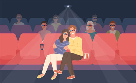 Boyfriend and girlfriend sitting in stereoscopic movie theater or cinema hall. Young man and woman in 3d glasses watching film or motion picture together. Flat cartoon colorful vector illustration