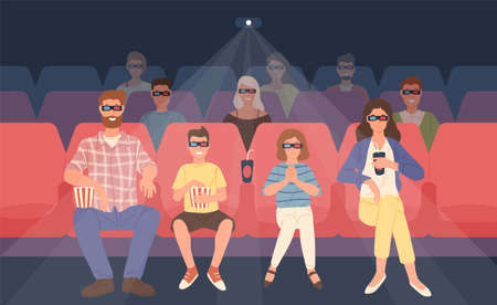 Joyful family sitting in stereoscopic movie theater or cinema hall. Mother, father and their children in 3d glasses watching three-dimensional film together. Flat cartoon colorful vector illustration Illustration