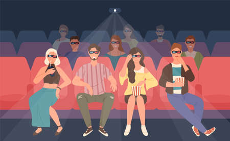 Happy men and women sitting in chairs at three-dimensional movie theater. Friends or mates in 3d glasses watching film or motion picture together. Colorful vector illustration in flat cartoon style