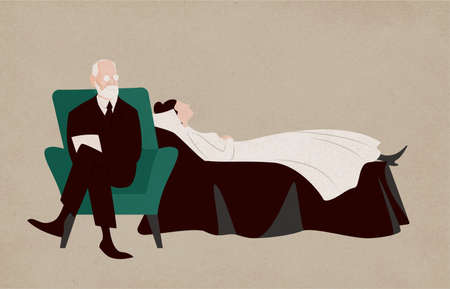 Woman lying on couch and Sigmund Freud sitting in armchair beside her and asking questions. Dialogue between patient and psychoanalyst. Psychoanalysis and psychotherapy. Flat vector illustration