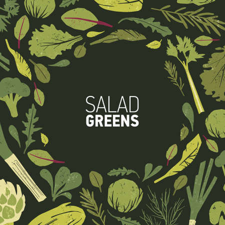 Circular frame made of green plants, salad leaves and spice herbs on black background. Decorative backdrop with round border consisted of healthy vegan or vegetarian food. Colored vector illustration Stock Illustratie