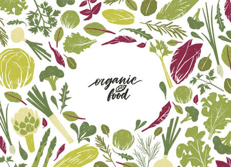 Round frame made of green vegetables, salad leaves and spice herbs on white background. Creative backdrop with circular border consisted of vegan organic food. Colorful flat vector illustration