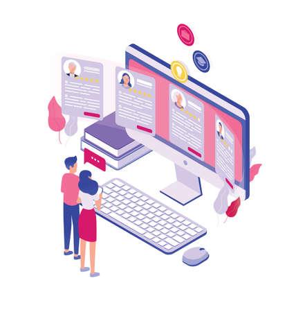 Par de personas diminutas de pie frente a una pantalla de computadora gigante y mirando a través de solicitudes de empleo aisladas sobre fondo blanco. Concepto de contratación de personal. Ilustración vectorial isométrica. Ilustración de vector