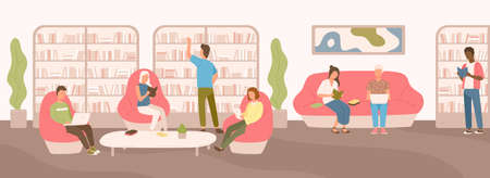 Young people sitting on comfy sofa and in armchairs studying and reading at public library. Flat cartoon men and women surrounded by shelves and racks with books. Modern colorful vector illustration