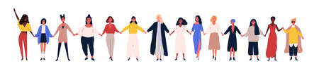 Happy women or girls standing together and holding hands. Group of female friends, union of feminists, sisterhood. Flat cartoon characters isolated on white background. Colorful vector illustration  イラスト・ベクター素材