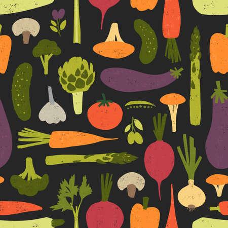 Modello moderno senza soluzione di continuità con deliziose verdure biologiche fresche e funghi su sfondo nero. Sfondo con prodotti alimentari vegani sani. Illustrazione vettoriale colorata per stampa tessile, carta da parati Vettoriali