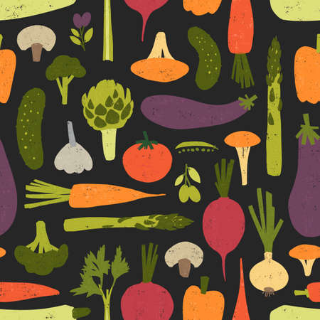 Modern seamless pattern with fresh delicious organic vegetables and mushrooms on black background. Backdrop with healthy vegan food products. Colorful vector illustration for textile print, wallpaper