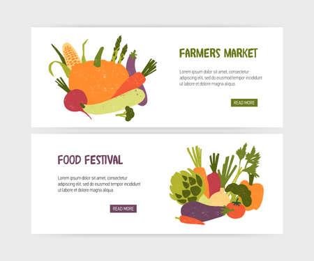 Conjunto de plantillas de banner web con sabrosas verduras orgánicas y lugar para texto sobre fondo blanco. Ilustración de vector moderno colorido para promoción de festival de comida vegana o anuncio de mercado agrícola Ilustración de vector