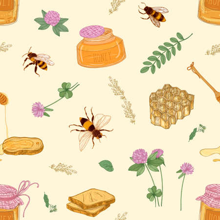 Seamless pattern with honey, bees, honeycomb, linden, acacia, clover plants, jar and dipper on light background. Colorful hand drawn vector illustration for wrapping paper, fabric print, wallpaper Stock Illustratie
