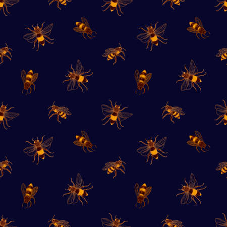 Seamless pattern with honey bees on dark background. Apiculture or beekeeping backdrop. Colorful hand drawn vector illustration in elegant vintage style for wrapping paper, textile print, wallpaper. Stock Photo