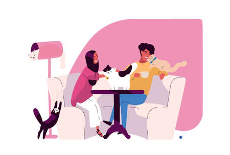 Pair of romantic partners at cat cafe. Joyful man and woman sitting at table and drinking coffee with funny domestic animals or pet kitties. Colorful vector illustration in flat cartoon style Çizim