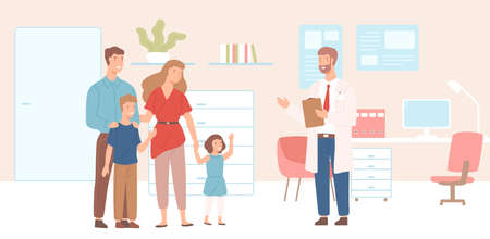 Smiling mother, father and children came to physician's office, clinic or hospital. Visit to family doctor or meeting with medical adviser. Colorful vector illustration in flat cartoon style