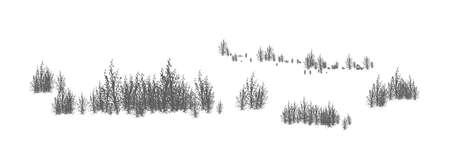 Paesaggio boscoso con sagome di alberi decidui e arbusti. Panorama orizzontale con boschetto di piante forestali. Elemento decorativo di design nei colori bianco e nero. Illustrazione vettoriale monocromatica