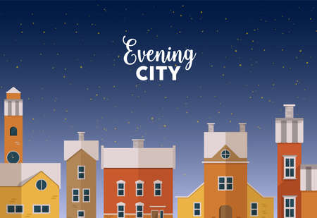 Horizontal banner template with evening winter urban landscape with city street, facades of beautiful buildings and starry sky on background. Colorful vector illustration in flat cartoon style.