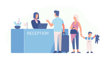 Family standing at airport check-in counter or registration desk and talking to female worker. Scene with tourists or travellers at hotel lobby. Colorful vector illustration in flat cartoon style