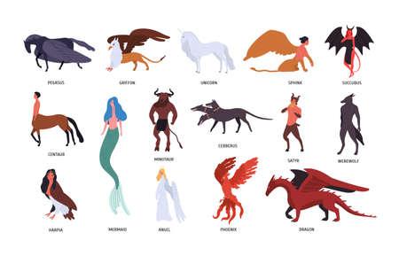 Raccolta di varie creature mitiche magiche isolate su priorità bassa bianca. Pacchetto di personaggi dei cartoni animati piatti ed eroi di fiabe, leggende fantasy, mitologia. Illustrazione vettoriale colorato.