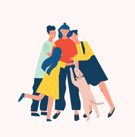 Group of people and dog surrounding and hugging or embracing young woman. Friends' support, care, love and acceptance. True friendship. Bright colored vector illustration in flat cartoon style
