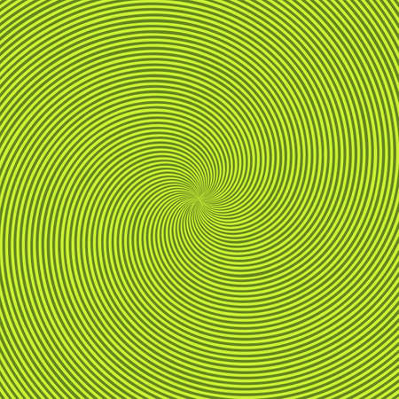 Green radiant background with circular swirl, helix or twist. Backdrop with round optical illusion, hallucination, hypnotic tunnel or vortex effect. Creative modern bright colored vector illustration