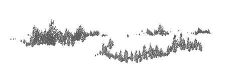Woodland horizontal natural landscape with silhouettes of spruce, larch or fir trees. Forest panoramic view. Decorative design element in black and white colors. Monochrome vector illustration.