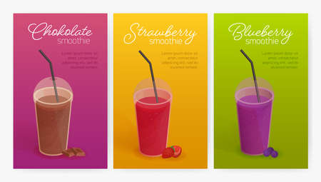 Collection of flyer or poster templates with delicious smoothies or healthy tasty detox drinks in plastic glasses with lid and straw. Colorful vector illustration for advertisement, promotion
