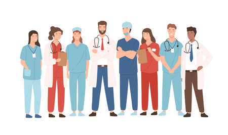 Group of hospital medical staff standing together. Male and female medicine workers - physicians, doctors, paramedics, nurses isolated on white background. Vector illustration in flat cartoon style