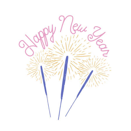 Happy New Year lettering handwritten with elegant calligraphic script. Written holiday wish decorated by burning sparklers. Stylish festive colored vector illustration for greeting card, postcard
