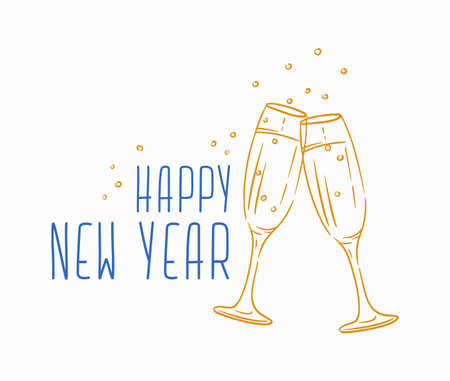 Happy New Year message handwritten with calligraphic font. Written festive phrase or wish decorated by clinking champagne glasses. Seasonal vector illustration for holiday greeting card, postcard