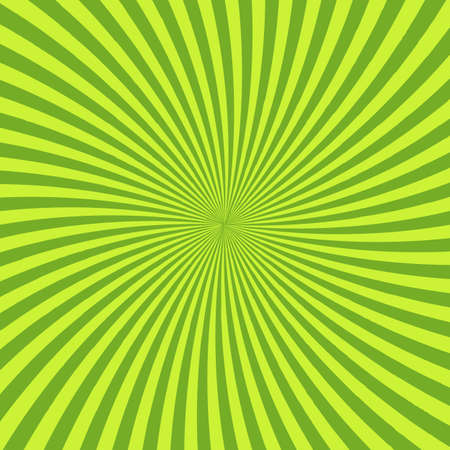 Green psychedelic background with rays, lines or stripes converging in center. Square decorative backdrop with radiant optical illusion or hypnotic effect. Bright colored abstract vector illustration Illustration