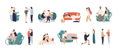 Bundle of scenes with adorable romantic couple. Man and woman kissing, hugging, riding bicycle, walking, eating, drinking cocktail, lying on sofa. Colorful vector illustration in flat cartoon style Illusztráció